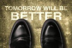 有文本的鞋子明天将是更好的 库存照片