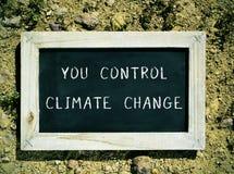 有文本的黑板您控制气候变化 库存照片