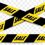 有文本的黑的黄色无缝的销售磁带 免版税库存图片