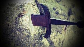 有文本的Excalibur不可思议的剑 免版税库存照片