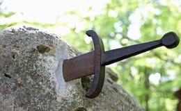 有文本的Excalibur不可思议的剑 库存照片