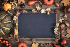 有文本空间的黑板与秋天装饰 免版税库存图片