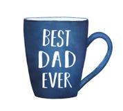 有文本词组`最佳的爸爸`的深蓝杯子 皇族释放例证