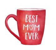 有文本题字`最佳的妈妈`的红色水彩杯子 皇族释放例证