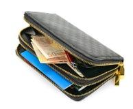 有文件和金钱的钱包 免版税库存照片