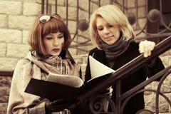有文件夹的两名年轻时装业妇女在办公室buildin 库存图片