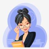 有文件夹的女实业家在她的手上 库存图片