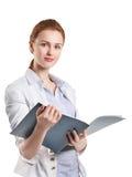 有文件夹的妇女 免版税图库摄影