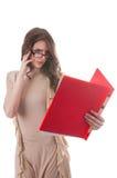 有文件案件的女商人 免版税图库摄影