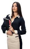 有文件的女商人 免版税库存照片