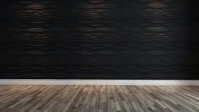 有斑点光的空的黑波浪墙壁 免版税图库摄影