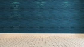 有斑点光3D翻译的空的蓝色波浪墙壁 免版税库存图片