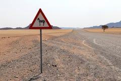 有斑马路牌的-纳米比亚非洲路 免版税图库摄影