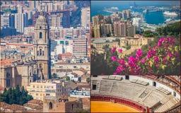 有斗牛场和港口的马拉加拼贴画  西班牙 免版税图库摄影