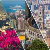 有斗牛场和港口的马拉加拼贴画  西班牙 免版税库存照片