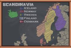 有斯堪的那维亚的地图的黑板 库存照片
