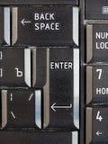 有斯拉夫语字母和拉丁字母的俄国和英国键盘 免版税库存图片