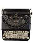 有斯拉夫语字母的信件的葡萄酒便携式的打字机 免版税库存照片