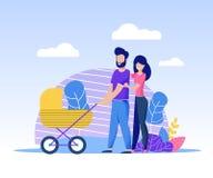 有新出生的幸福家庭一起花费时间 向量例证