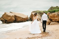 有新娘的年轻夫妇新郎一个沙滩的 库存照片