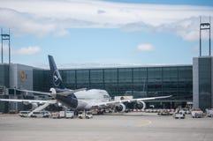 有新的颜色和设计的汉莎航空公司飞机 免版税库存图片