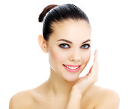 有新鲜的清楚的皮肤的快乐的女性 库存图片