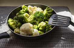 有新鲜的被除霜的菜和厨房小铲的平底锅 免版税图库摄影