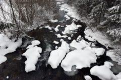 有新鲜的雪的小结冰的河在岩石 免版税库存图片