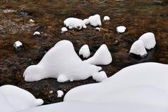 有新鲜的雪的小结冰的河在岩石 库存照片