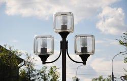 有方形的树荫的街灯 库存图片
