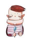有方形的等待他的膳食的下颌和锋利的牙齿的阴沉的动画片妖怪男孩拿着匙子 漫画书字符 库存例证