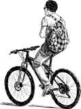 有方格的背包的骑自行车者 库存例证