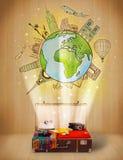 有旅行环球例证概念的行李 库存照片