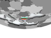 有旗子的保加利亚在地球 库存图片