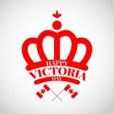 有旗子的加拿大红色冠为维多利亚天 免版税库存照片