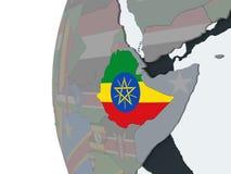 有旗子的埃塞俄比亚在地球 皇族释放例证