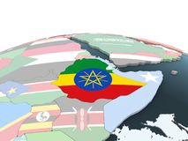 有旗子的埃塞俄比亚在地球 向量例证
