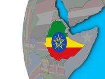 有旗子的埃塞俄比亚在3D地球 向量例证