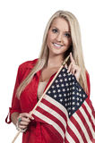 有旗子的妇女 库存照片