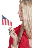有旗子的妇女 免版税库存图片