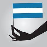 有旗子的尼加拉瓜手 皇族释放例证