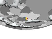 有旗子的摩尔多瓦在地球 免版税图库摄影