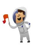 有旗子的漫画人物快乐的宇航员 免版税库存图片