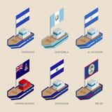 有旗子的等量船:洪都拉斯,危地马拉,萨尔瓦多, Nicar 向量例证