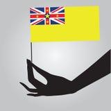 有旗子的纽埃手 向量例证