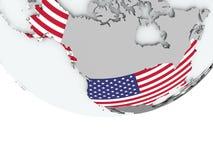 有旗子的美国在地球 免版税库存图片
