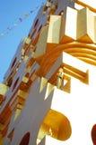 有旗子的菩提伽耶 免版税库存图片