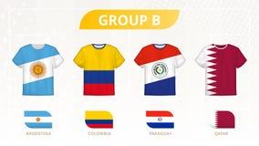 有旗子的,小组B队橄榄球T恤杉:阿根廷,哥伦比亚,巴拉圭,卡塔尔 皇族释放例证