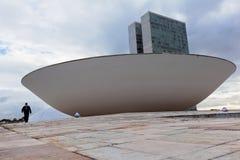 有旗子的巴西全国代表大会在背景中在巴西利亚 库存图片