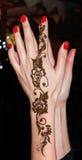 有无刺指甲花纹身花刺的妇女手 免版税图库摄影